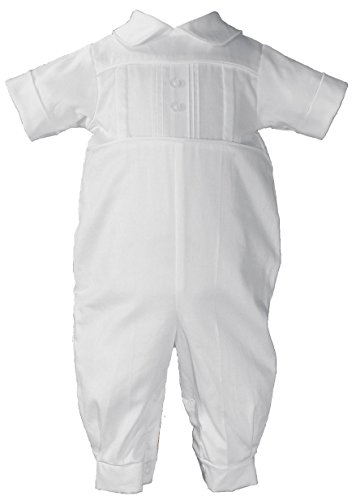 Cotton Sateen Short Sleeve Christening Baptism Coverall with Pleated Front and Hat, 03 by Little Things Mean A Lot