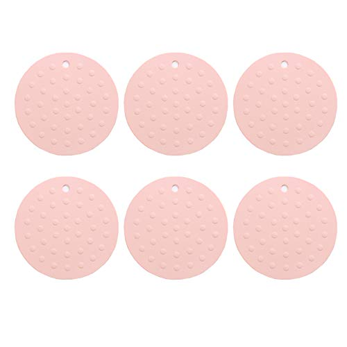 Multipurpose Silicone Pot Holders,Multipurpose Silicone Drying Mat Trivets, Jar Openers Spoon Rests Non-slip, Insulation, Durable, Resistant Hot Pads for Table Kitchen (6p (pink, circular) ()