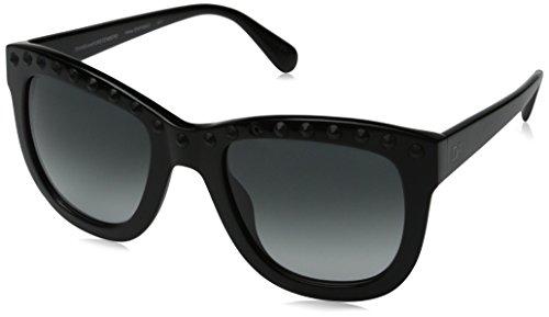 Diane von Furstenberg Women's Haley Square Sunglasses, Black, 53 mm -