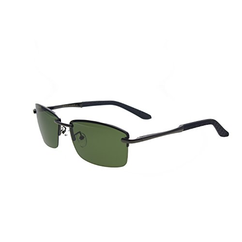 Zacway Polarized Spring Hinges Metal Predator Sunglasses UV400 60mm (Gunmetal Frame \ Gray Green Lens, 60)