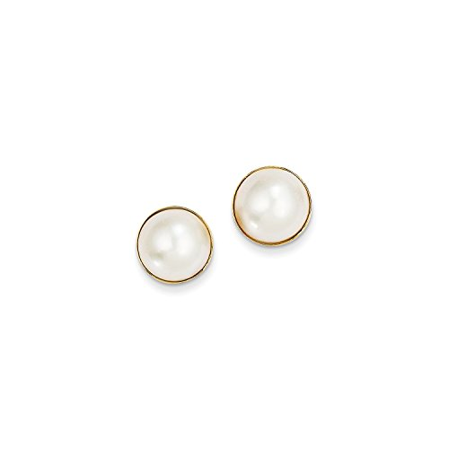 Roy Rose Jewelry 14K Yellow Gold 9-10mm Cultured Mabe Pearl Earrings 14k Yellow Gold Mabe Pearl