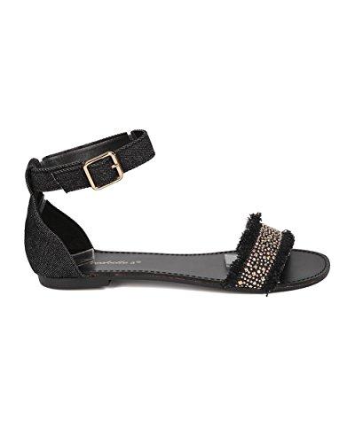 Breckelles Women Beaded Flat Sandal - Ankle Strap Sandal - Comfortable Everyday Casual on The Go Sandal - HA41 by Black Denim s6SJE