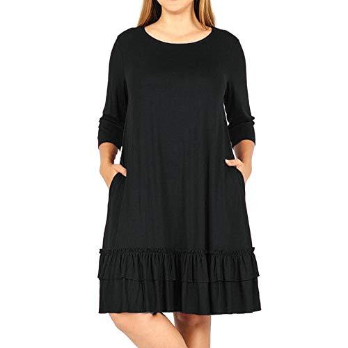 de Vestido Cuartos tamaño la la Rodilla sólido Negro Colmena hasta más Manera la de el de Challeng Mujeres en Tres Cascada xHYqwvnO
