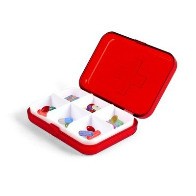 Kikkerland 6 Compartment Pill Box Pillbox Travel Holder New Container Medicine !