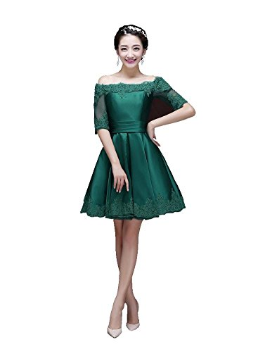 Beauty-Emily La mitad de la manga del vestido de partido del cuello del barco mini-Line Verde oscuro