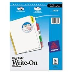 AVE23076 - Dividers with Blank self tab and Gold Reinforcing Strip - Avery Big Tab Write-On Dividers with Erasable Laminated Tabs - Kit of - Pro Tab Gold Index