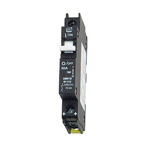 DC Circuit Breaker - 50 Amp, 125 VDC, DIN Rail Mount, P/N MNEPV50, Midnite Solar ()