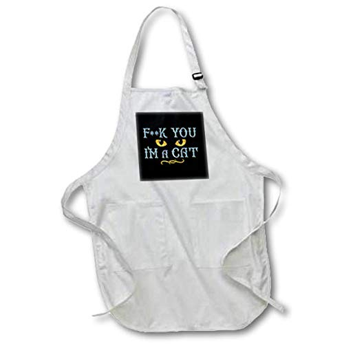 3dRose Sven Herkenrath Cat - IAM a Cat with Dangerous Eyes Cats Kitten for Halloween - Medium Length Apron with Pouch Pockets 22w x 24l (apr_307496_2)