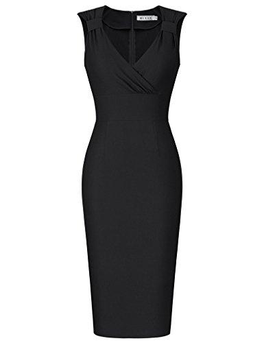 MUXXN Women's Vintage 1960s Style V Neck Bodycon Cocktail Evening Dress
