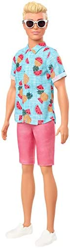 Barbie Ken Fashionistas Doll with Sculpted Blonde Hair Wearing Blue Tropical-Print Shirt, Coral Shorts, White
