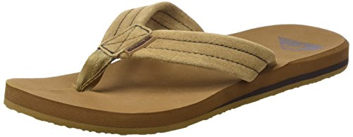 Quiksilver Men's Carver Suede 3-Point Flip-Flop, Tan/Solid, 11 M US