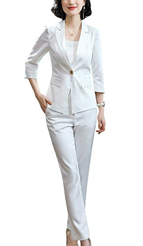 Women's Two Pieces Blazer Office Lady Suit Set Work Blazer Jacket and Pant (White-881342, ()