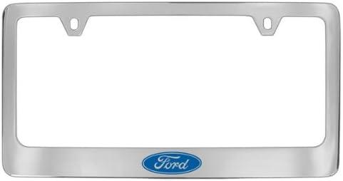 Ford Logo Black Coated Metal Bottom Engraved License Plate Frame Holder