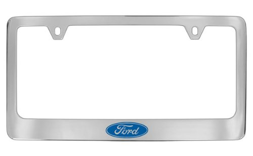 Ford Logo Chrome Plated Metal License Plate Frame Holder