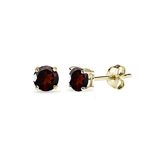 - Yellow Gold Flashed Sterling Silver Garnet 4mm Round-Cut Solitaire Stud Earrings
