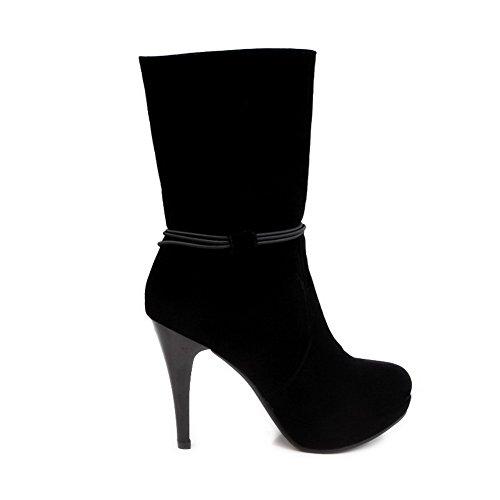 AllhqFashion Mujeres Sin cordones Plataforma Tacón Fino Sólido Caña Media Botas Negro