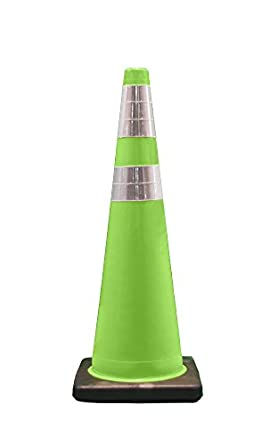 """Cortina 03-500-06LI PVC Traffic Cone with Black Base and 6""""/4"""" Reflective Collar, 36"""" Height, Fluorescent Green"""