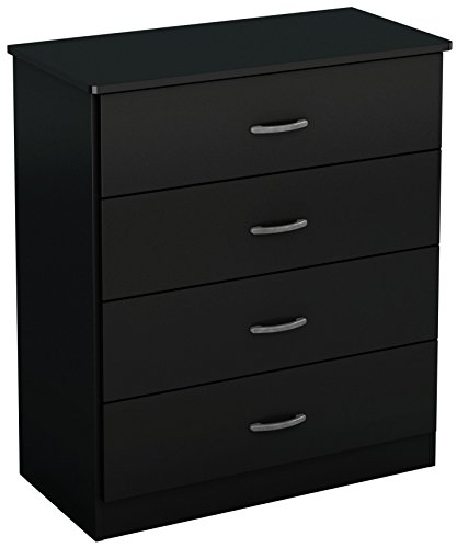 South Shore Libra Collection 4-Drawer Dresser, Pure Black with Metal Handles in Pewter Finish