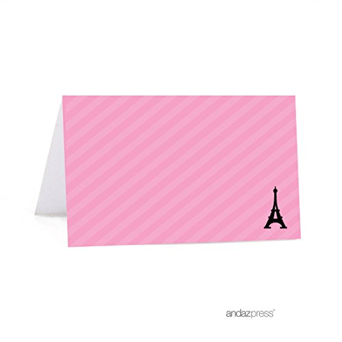 Andaz Press Paris Bonjour Bebe Girl Baby Shower Collection, Table Tent Printable Place Cards, 20-Pack, Bridal Shower, Baptism, Paris France, Travel, Pink Themed Party Decorations