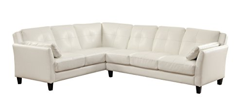 HOMES: Inside + Out Maddina Tufted Faux Leather Sectional, White - Tufted Leather Contemporary Sofa