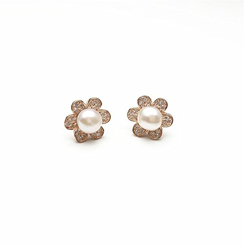Freshwater Gold Stud (PearlsStudio Women's 925 Sterling Silver Earring 6mm Natural Freshwater Cultured Pearl Earrings Stud Zirconia Flower Stud Earrings with 18k Rose Gold Plated)
