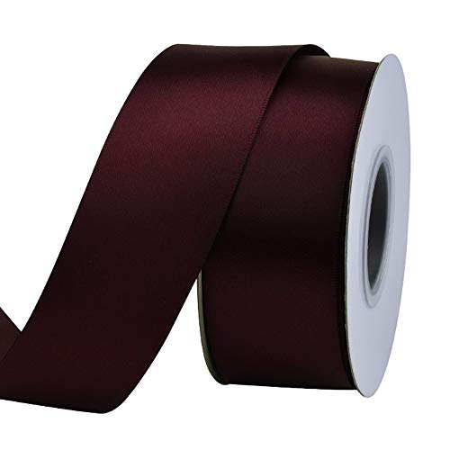Ribest 1-1/2 inch 25 Yards Solid Double Face Satin Ribbon Per Roll for DIY Hair Accessories Scrapbooking Gift Packaging Party Decoration Wedding Flowers Burgundy