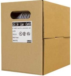 500FT, White ETL Listed Fluke Passed RoHS ANSI Plenum Cat5e 500ft CMP Pull Box Solid Copper
