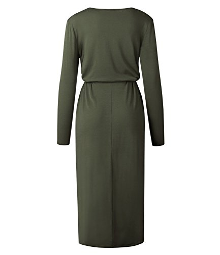 Green Mansy T Dresses High Long Sleeve Maxi Women's Casual Tunic Shirt Low Dress f7fqHAw