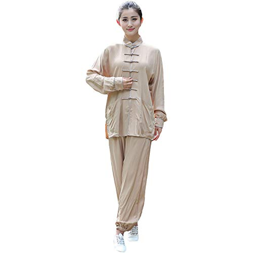 ZooBoo Cotton and Linen Kung Fu Tai Chi Uniform Martial Arts Wear for Women (Beige, S)