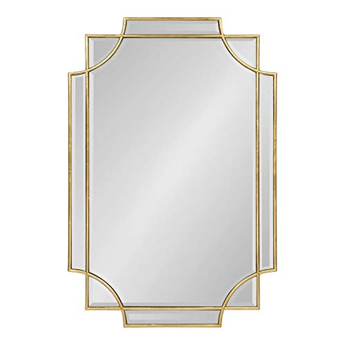 Scalloped Mirror White - Kate and Laurel Minuette Decorative Rectangle Frame Wall Mirror in Gold Leaf, 24x35.5 Inches