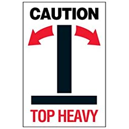 Paper Caution Top Heavy Package Handling Label - 6\