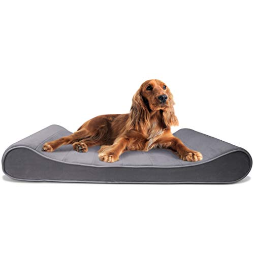 (FurHaven Pet Dog Bed | Orthopedic Microvelvet Luxe Lounger Pet Bed for Dogs & Cats, Gray, Large)