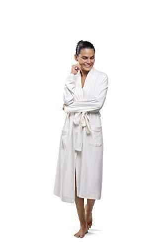 PJ.PIMA Soft Pima Cotton Smoking Collar Classic Robe (Relax Ivory, Large/X Large Tall) (Calf Length Robe)