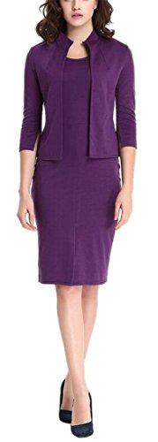 Women's Purple Vintage 2 Pieces 3/4 Sleeve Wear to Work Party Bodycon Dress XL