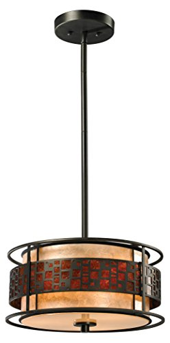 (Z-Lite Z14-50P-C 3-Light Pendant, White and Amber Mica Shade)