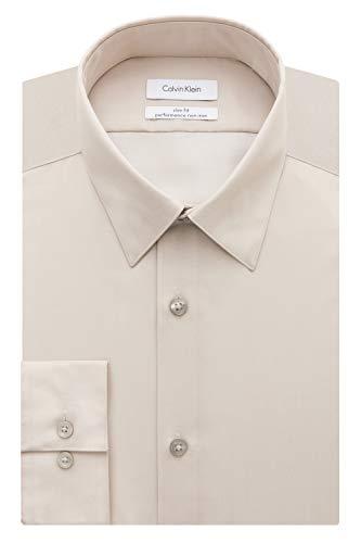 Calvin Klein Men's Dress Shirt Slim Fit Non Iron Herringbone, Sandstone, 16.5