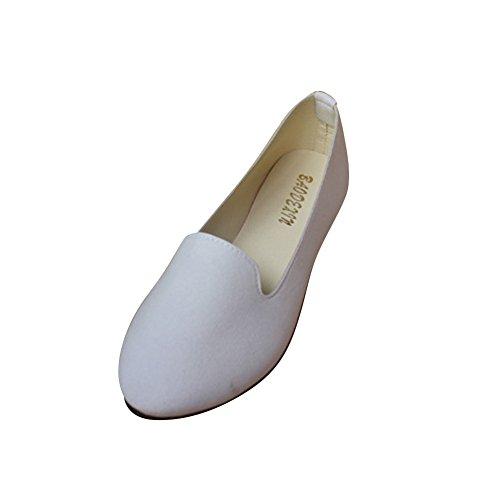 MISSMAO Ladies Womens Casual Flat Slip on Comfort Walking Summer Pumps Imitation Leather Shoes White 5t5tysDPW