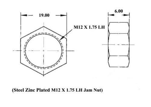 6-Pack Yellow Zinc Plated QSC M12 X 1.75 Metric Steel Left Hand Jam Nut