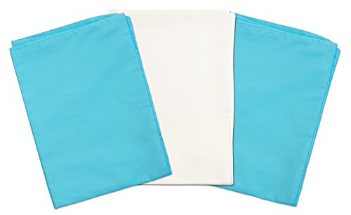 3 Toddler Pillowcases - 2 Turquoise and 1 White - Envelope Style - For Pillows Sized 13x18 - 100% Cotton With Soft Sateen Weave - Machine Washable - ZadisonJaxx Bellacolour Collection - 3 Pack