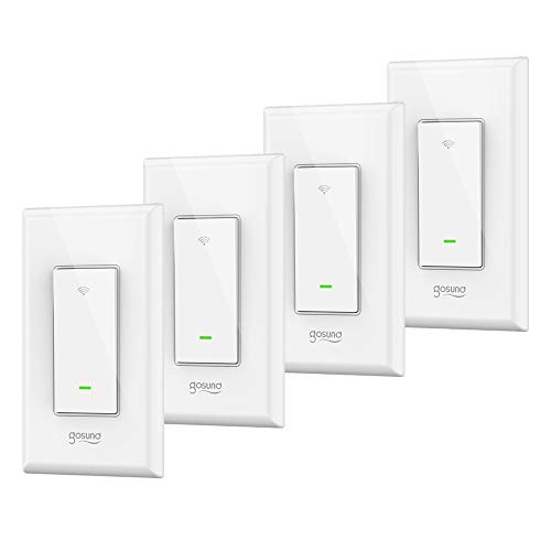 Smart Switch Works with Alexa Google Assistant IFTTT, Gosund Wifi Light Switch with Timer Function ,Single-Pole, No Hub required,ETL FCC Certified(4 pack)