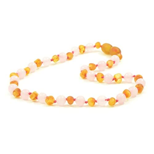 Discount Amber Teething Necklace for Baby - Unisex - Amber Jewelry - Hand-Made from Certified Genuine Baltic Amber Beads (12.6 Inch (32cm), Raw Honey / Quartz)