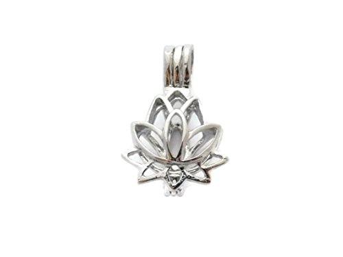 - Lotus Blossom Bead Cage - Old School Geekery Brand Jewelry Making Supplies - Hollow Silver Plated Bead Cage Pendant