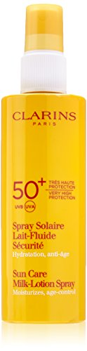 Clarins Sun Care Milk-Lotion Spray Very High Protection UVB/UVA 50+ for Unisex, 5.3 Ounce