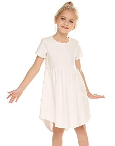 Balasha Girls Dress Short Sleeve A-Line High Low Casual Skater Dresses -