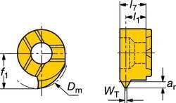 Sandvik Coromant MB-07TH140NT-10L 1025 PVD Coated Solid Carbide CoroCut MB Threading Insert Pack of 5 14 NPT Thread