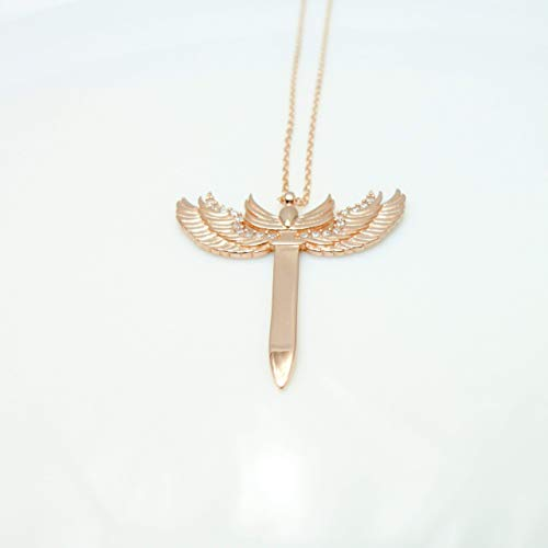 Archangel Michael's Sword Rose Gold Sterling Silver Pendant, Protection Necklace with 16.3'' Chain by Handmade Studio HS7301