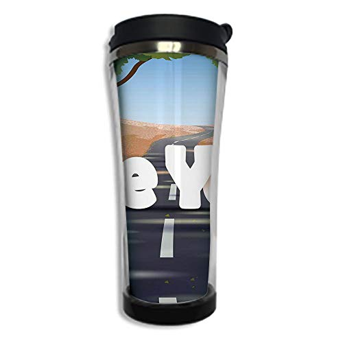 (Travel Coffee Mug 3D Printed Portable Vacuum Cup,Insulated Tea Cup Water Bottle Tumblers for Drinking with Lid 14.2oz(420 ml)by,Going Away Party Decorations,Cartoon Highway Empty Open Road with)