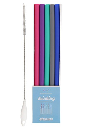 Just Bright Reusable BPA Free Silicone Flexible Drinking Straws with Cleaning Brush, Straws Sized for Versatile use, Fits 20 oz & 30 oz Tumblers, Bottles, Glasses and (Chew Straws)