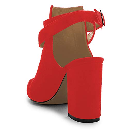 with Straps Red Heel Pumps Mid Toe Shoes Buckle Pointed Dress Ankle Bootie Women YDN 4gqO8wPx