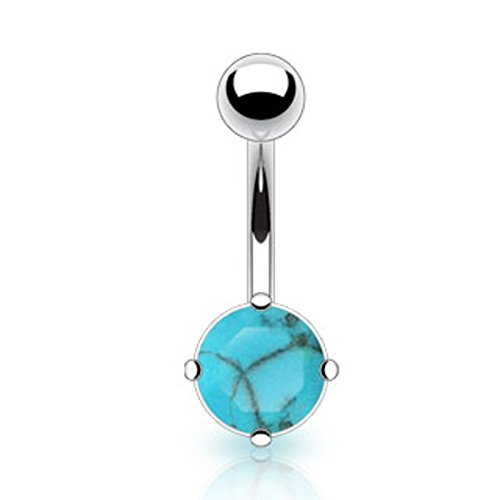 (Dynamique 14g Turquoise Semi Precious Stone Prong Set Belly Button Ring 316L Surgical)